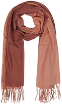 Mila Schon Gradient Brick/Coral Wool and Cashmere Fringed Stole