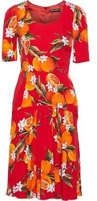 Dolce & Gabbana Gathered Printed Stretch-silk Dress
