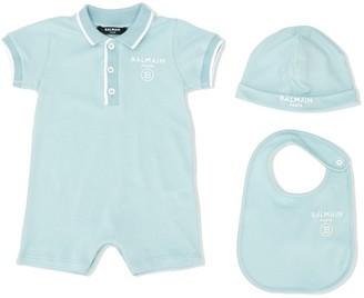 Balmain Kids Polo Shirt Babygrow Set