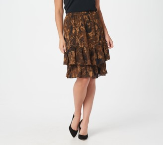 Linea by Louis Dell'Olio Camo Print Pull-On Ruffle Skirt