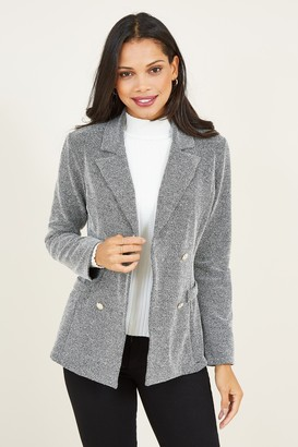 Yumi Grey Button Blazer