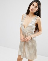 Oh My Love Metallic Pleat Plunging V Wrap Dress