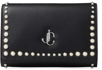 Jimmy Choo Leather Pearl-Studded Varenne Clutch Bag