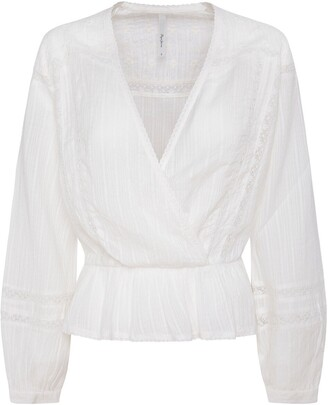Pepe Jeans Embroidered Cotton Wrap Blouse