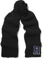Raf Simons Appliquéd Distressed Ribbed Virgin Wool Scarf
