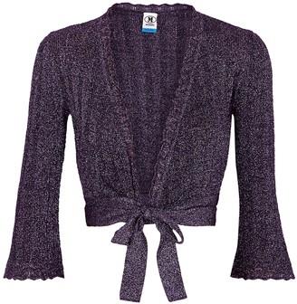M Missoni Purple metallic-weave fine-knit cardigan
