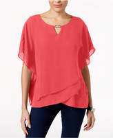 JM Collection Petite Tiered-Hem Keyhole Top, Created for Macy's