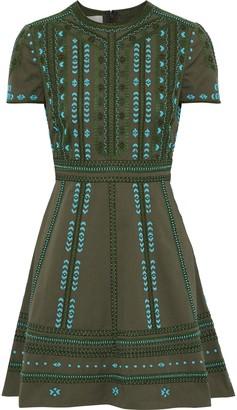 Valentino Embellished Cotton-twill Mini Dress