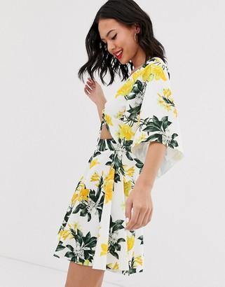 Asos Design DESIGN floral knot cut out skater mini dress-Multi