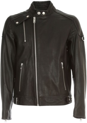 Diesel Cody Leather Jacket W/lace On Neck