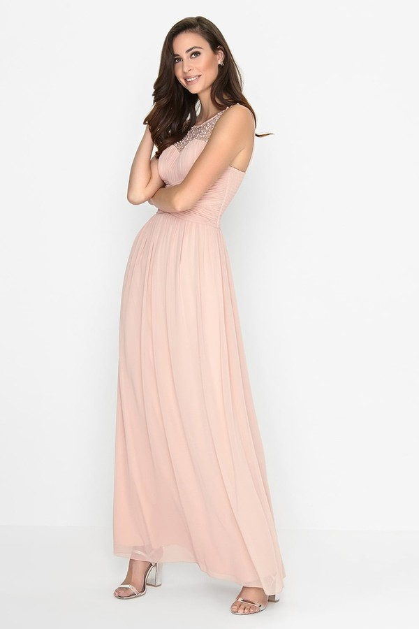 Thumbnail for your product : Little Mistress Grace Pink Embellished Neck Maxi Dress