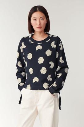 Cos Cropped Printed Sweatshirt