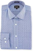 Neiman Marcus Classic-Fit Regular-Finish Herringbone Dress Shirt, Blue