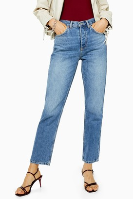 Topshop Womens Mid Blue Editor Straight Jeans - Mid Stone