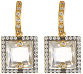 Freida Rothman Two-Tone Pave CZ Framed Square Drop Earrings
