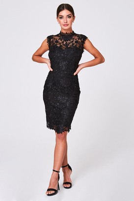 Paper Dolls Arna Black Crochet-Lace Sequin Dress