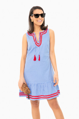 Sail to Sable Blue Gingham Sleeveless Ruffle Hem Dress
