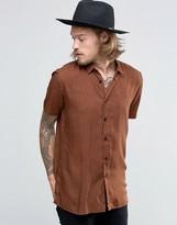 Asos Regular Fit Viscose Shirt With Ditsy Swirl Print