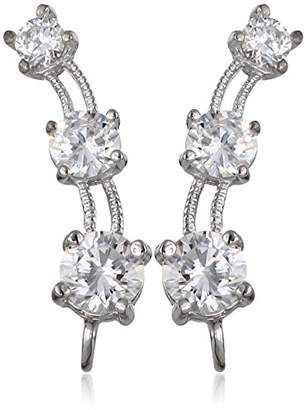 The Ear Pin 10K Cubic Zirconia 3-In-1 Multi-Pierced Illusion Earrings
