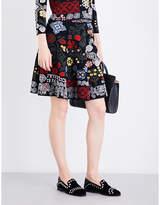 Alexander McQueen Floral-intarsia silk-blend skirt