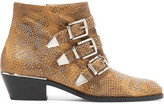 Chloé Susanna Studded Watersnake Ankle Boots - Sand
