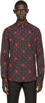 Versus Black and Red Patterned Poplin Shirt