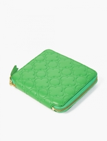 Comme Des Garcons Wallet Green Embossed Leather Wallet