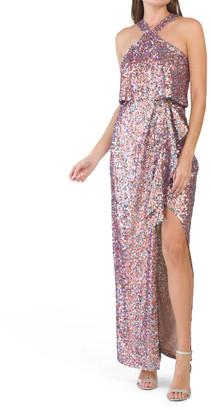 Multicolor Halter Sequin Dress