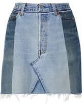 RE/DONE Two-Tone Frayed Denim Mini Skirt