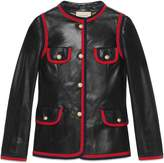 Gucci Leather jacket with ribbon trim
