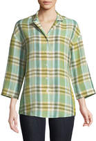 Lafayette 148 New York Analeigh 3/4-Sleeve Plaid Blouse