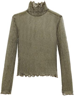 Joie Elmeria Ruffle-trimmed Metallic Ribbed-knit Top