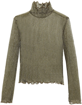 Joie Ruffle-trimmed Metallic Knitted Top