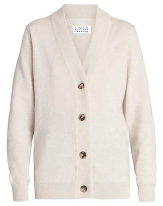 Maison Margiela Logo Elbow-Patch Wool Cardigan