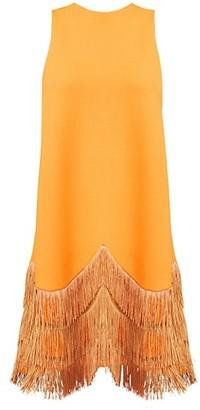 Lela Rose Sleeveless Fringe-Hem Shift Dress