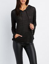 Charlotte Russe Bell Sleeve Lace-Up Back Hoodie