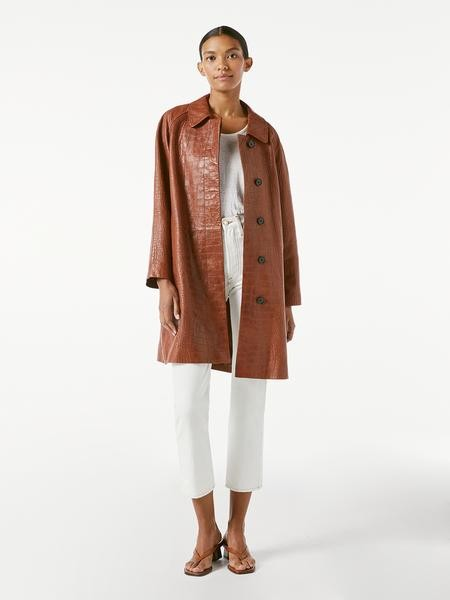 Frame Embossed Croco Leather Coat