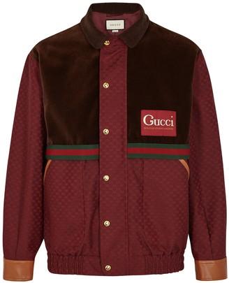Gucci GG burgundy jacquard bomber jacket