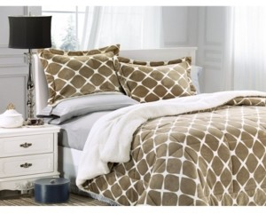 Elegant Comfort Softest, Coziest Premium Quality Heavy Weight Bloomingdale Pattern Micromink Sherpa - Backing Reversible Down Alternative Micro - Suede 2-Piece Comforter Set King Bedding