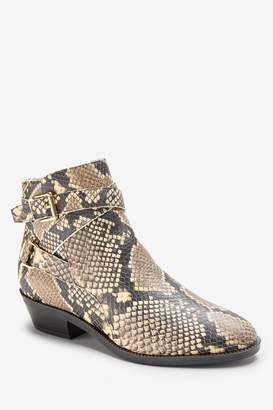 Ralph Lauren Womens Snake Leather Western Ankle Boots - Animal