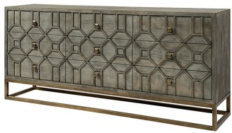 Mercana Home Genevieve II 70x15.8 Brown Solid Wood Frame Gold Metal Base 9 Drawer Sideboard - 70.0L x 15.8W x 31.0H