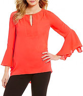 Gibson & Latimer Bell Sleeve Blouse with Gold Neck Bar