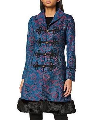 Joe Browns Womens Floral Winter Coat with Faux Fur Trim Blue 8