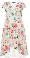 Quiz Curve Mint And Pink Floral Dip Hem Dress