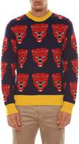 Gucci Wool Tiger Jacquard Long Sleeves Crew Neck