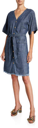 Trina Turk Lanai Button-Front Short-Sleeve Belted Denim Dress