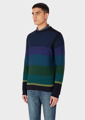 Paul Smith Men's Blue Gradient Stripe Cotton And Wool-Blend Sweater