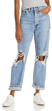 AGOLDE 90's Mid Rise Loose Fit Cotton Ripped Wide Leg Jeans in Fallout