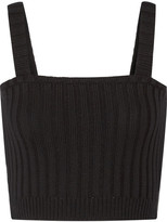 Valentino Cropped Ribbed-wool Top - Black