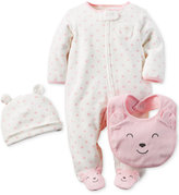 Carter's Baby Girls' 3-Pc. Hat, Bib & Footed Coverall Set